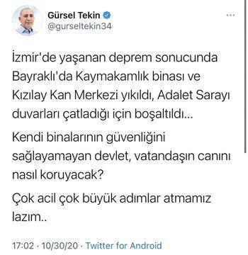 Gürsel Tekin'in İzmir depremi paylaşımı tepki çekti! - Son dakika haberler